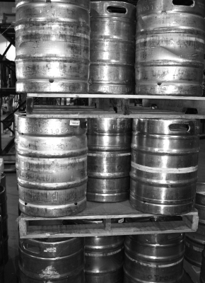 kegs stacked on pallets